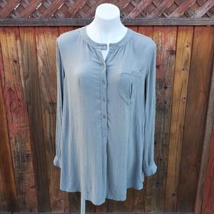 Free People army green button up longsleeve